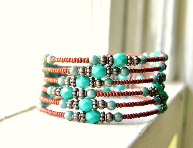 Skylar aqua brown and rustic copper beaded by pixiestrinkets