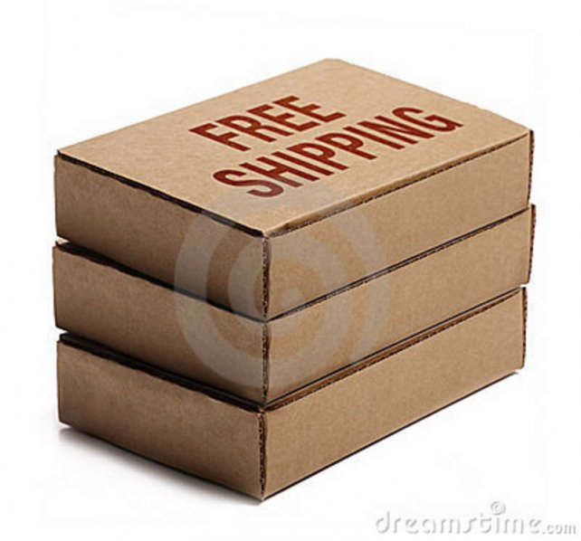Stack Of Cardboard Boxes. Free Shipping. Royalty Free Stock Photos